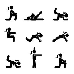 Exercises body workout stretching woman stick figure. Healthy life style vector pictogram.