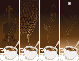 set of banners on the theme of coffee and music with cup and saucer on the different brown backgrounds