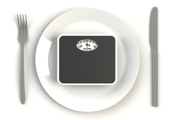 Bathroom scales on plate, knife and fork on white table, 3D rendering
