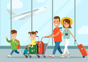 Flat parents children airport truck mom tickets vector. Vacation
