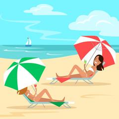 Flat Two girls lying deckchair sea beach vector Vacation concept