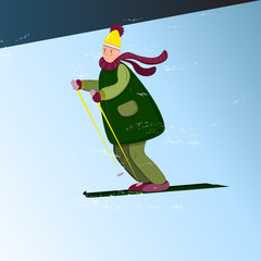 Funny cartoon man in winter clothes skiing down the hill