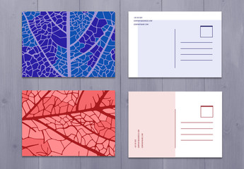 Four Colorful Illustrated Post Card Layouts
