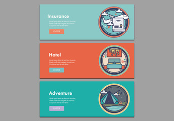 Three Colorful Travel Web Banners