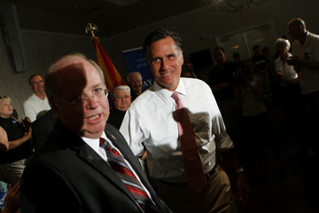 Republican presidential candidate and former Massachusetts Governor Mitt Romney attends a town hall meeting in Sun Lakes
