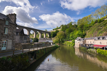 Beautiful view of old town Dinan with its traditional houses, Rance River and narrow streets, Côtes-d'Armor, Brittany, France, Europe