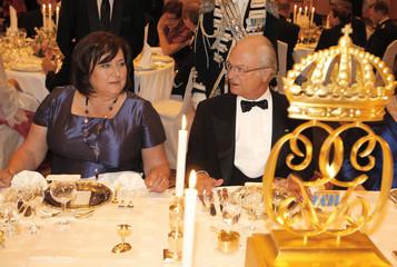 King Carl XVI Gustaf of Sweden and Poland's First Lady Anna Komorowska talk in Warsaw