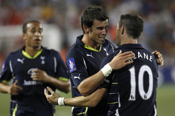 Bale of Tottenham Hotspur celebrates his goal with teammate Keane during the second half of their game against the New York Red Bulls at Red Bull Arena in Harrison