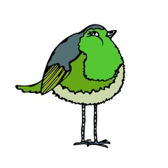 Cute Adorable Green Bird. Isolated On a White Background Doodle Cartoon Hand Drawn Sketch Vector