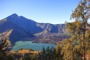Panorama view of Mountain Rinjani, active volcano in Lombok Island of Indonesia
