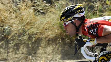 "Team HTC-Columbia rider and race leader Mark Cavendish cycles during the second stage of the Tour of Spain ""La Vuelta"" cycling race between Sevilla and Marbella"