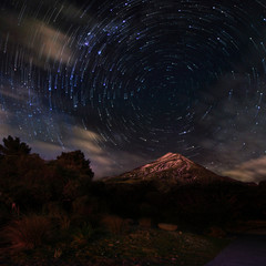 Star trails above Mount Taranaki in New Zealand.