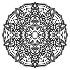 Hand drawn monochrome oriental ornamental lace round mandala