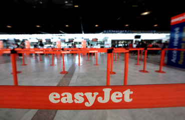 File photo of easyJet counters seen at Nice Cote D'Azur international airport Terminal 2