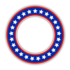 American flag abstract round frame with empty space for text. USA flag badge decorative sticker