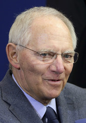 German Finance Minister Wolfgang Schaeuble briefs the media ahead of a euro zone finance ministers meeting in Brussels