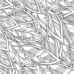 hand-drawn feathers and tribal ornament.