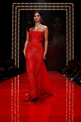 Actor Diane Guerrero takes part in the American Heart Association's Go Red For Women Red Dress Fall/Winter show during New York Fashion Week in the Manhattan borough of New York