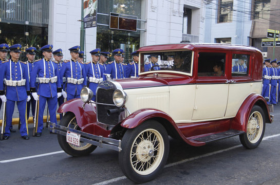 Classic cars parade for the brand FORD as a tribute to war veterans at the Heroes Pantheon in Asuncion