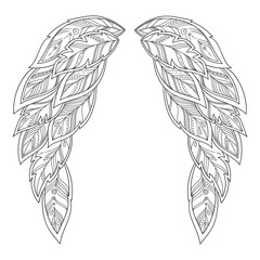 Wings feather. Pattern for coloring book.