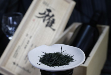Green tea leaves, which are priced at 210,000 yen per 100g, are pictured at Royal Blue Tea Japan Co in Fujisawa, south of Tokyo