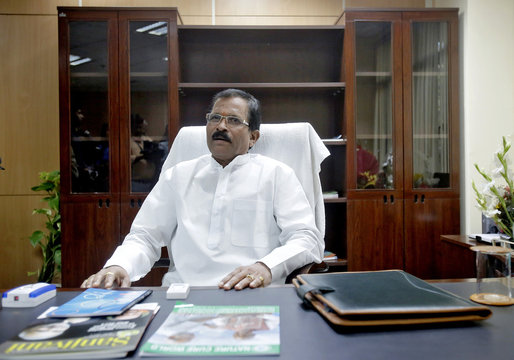 Shripad Naik, India's new minister in charge of the department of AYUSH, sits inside his office in New Delhi