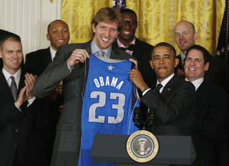 U.S. President Obama hosts 2011 NBA champions Dallas Mavericks at the White House in Washington
