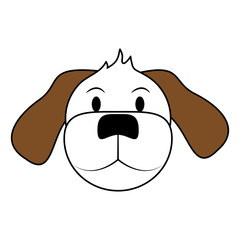 white and brown silhouette of cartoon front view face dog animal vector illustration