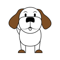white and brown silhouette of cartoon front view dog animal sitting vector illustration