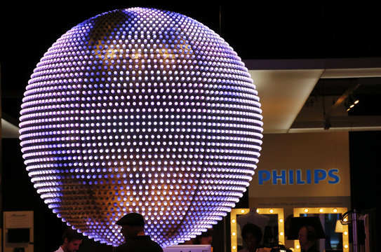 A giant LED illuminated ball is pictured at the Philips booth at the IFA consumer electronics fair in Berlin