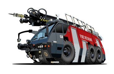 Vector Cartoon Fire Truck. Available EPS-8 vector format separated by groups and layers for easy edit