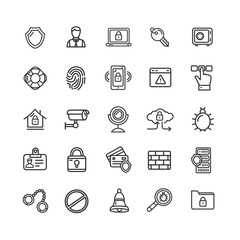 Data Security and Safe Icon Black Thin Line Set. Vector