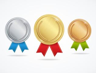 Realistic Metal Award Medals Set. Vector