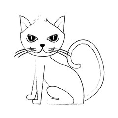 monochrome blurred silhouette of cartoon side view cat animal sitting vector illustration