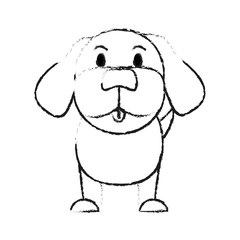 monochrome blurred silhouette of cartoon front view dog animal sitting vector illustration