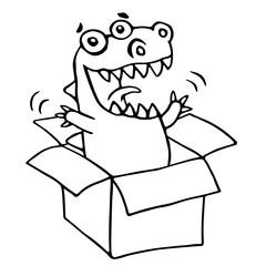 The dragon sitting in box. Vector illustration.