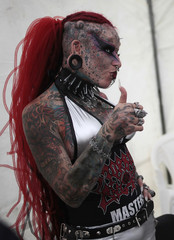 Maria Jose Cristerna, 36, a tattoo artist and a former lawyer from Guadalajara Mexico, poses for a picture during the Latin American Extreme Fest 2012, in Guatemala City