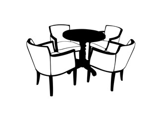 Illustration of table with chairs isolated on white