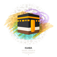 Kaaba icon on colorful watercolor background