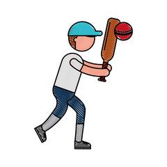 ethlete practicing cricket avatar vector illustration design