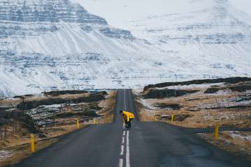 Skater in the Icelandic Landscape in front of a mountain