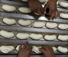 Bakers prepare bread at Ceci bakery in Sao Paulo