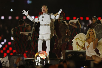 British actor Eric Idle performs during the closing ceremony of the London 2012 Olympic Games