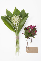 Lilly of the valley flowers and leaves bouquet, Flowers of an apple-tree of Nedzvetsky (Malus niedzwetzkyana Dieck)