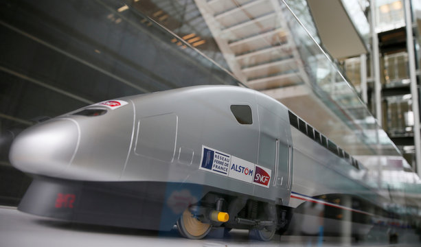 A scale model high speed train with the logo of the Alstom is seen before the the news conference to present the company's full year to end-March 2015/16 annual results in Saint-Ouen, near Paris