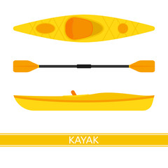 Kayak vector icon with paddles isolated on white background, in flat style.