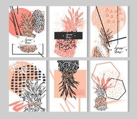 Hand drawn vector abstract textured geometric minimalism pineapple cards template set in pastel,white and black colors isolated on white.Minimal design.Minimalistic background