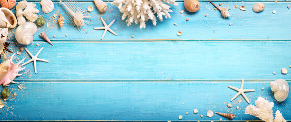 Seashells On Blue Wooden Background - Beach Concept
