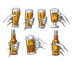 Man and woman hands holding, clinking with beer glass, bottle