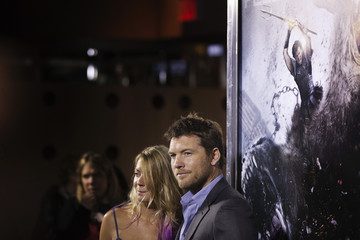 Cast member Sam Worthington arrives with his girlfriend, Crystal Humphries, for the world premiere of the film Wrath of the Titans in New York